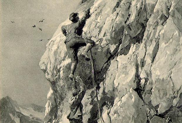 Первый покоритель Килиманджаро Людвиг Пурчеллер и известный немецкий альпинист рубежа XIX и XX веков Карл Блодиг, рисунок Э.Т. Комптона