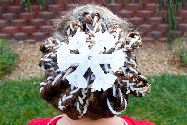 45. Снежинка волосы, праздник, прическа, рождество