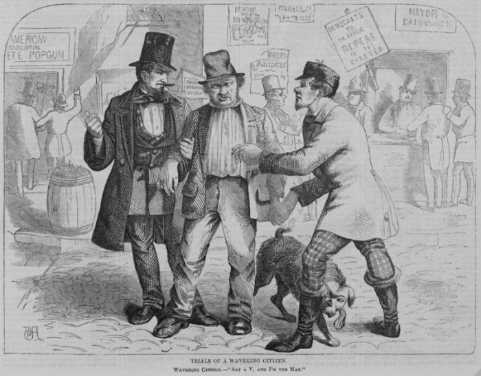 Политики, пытающиеся купить голоса избирателей. Harper's Weekly, 1857 год.   Фото: loc.gov.