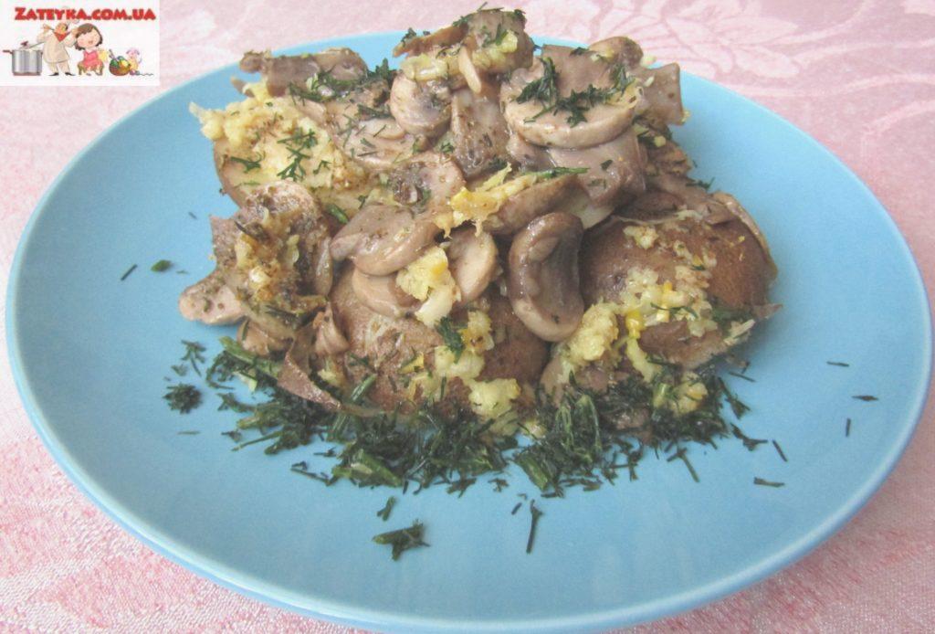 Картошка с грибами и чесноком в духовке (постный рецепт)
