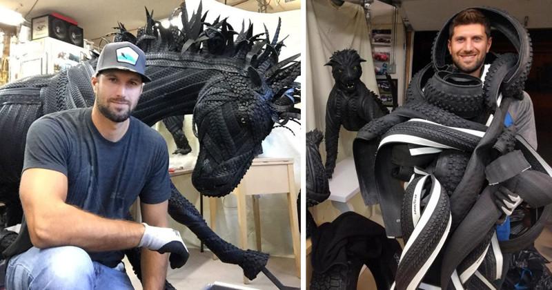Художник делает потрясающие скульптуры из старых шин