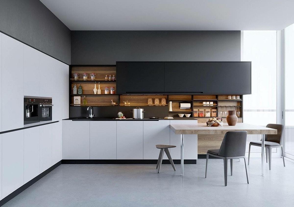 Спокойная кухня выдержанная в черно-белых тонах