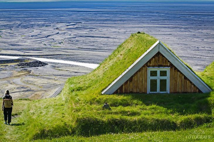 Скандинавские домики с заросшей крышей