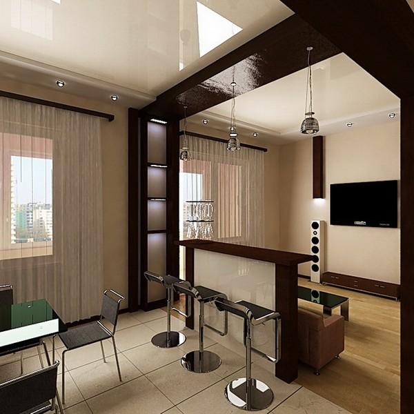 Барная стойка для зонирования совмещенной гостиной с кухней