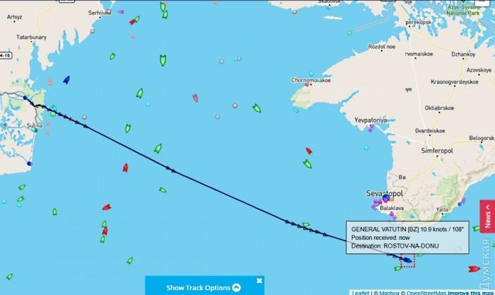 Украинский круизный лайнер «Генерал Ватутин» отказался от захода в Одессу и взял курс на Ростов
