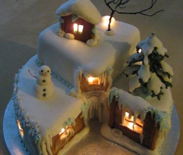 торт светящийся домик