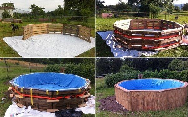 Энтузиаст построил бассейн на дачу из обычных деревянных поддонов по эскизу из интернета