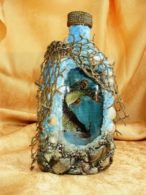 декор бутылок рыбак