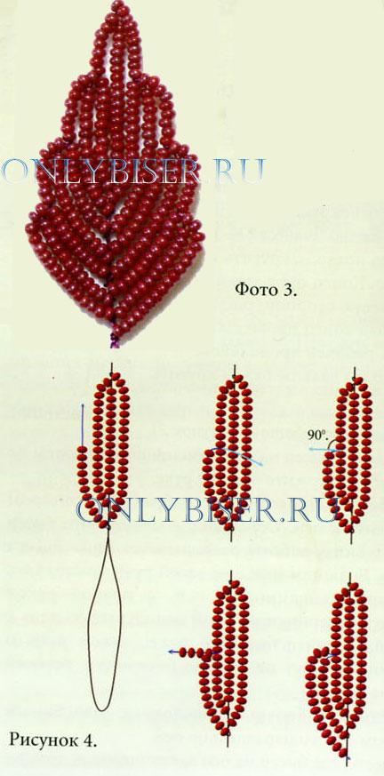 плетения по крокуса и и белого бисера в технике параллельного плетения по схеме 1-2.