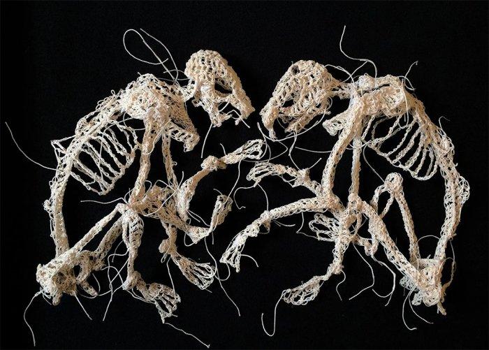 Скелеты животных, связанные крючком