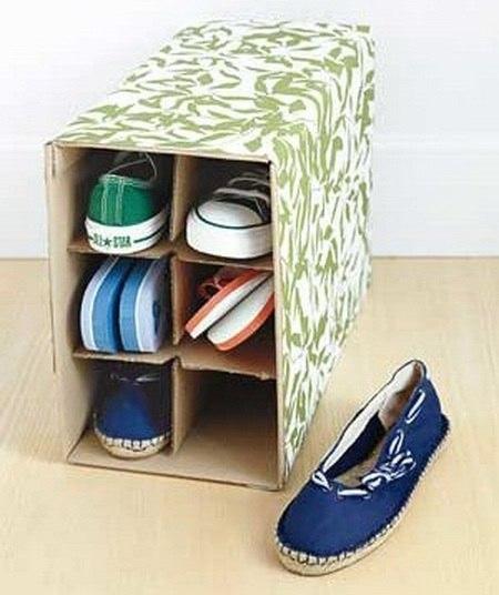 Секрет хранения летней обуви - коробка из под вина