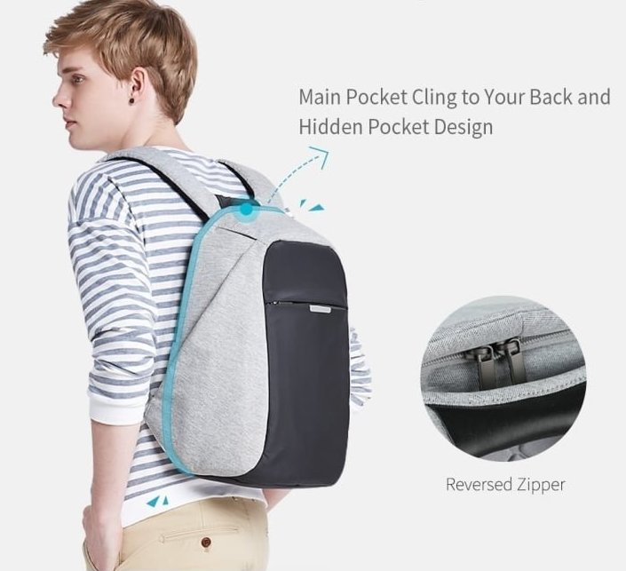 11. Рюкзак-антивор для путешествий: водонепроницаемый, без внешних замков, с USB разъемом и потайными карманами одежда, подборка, полезно, полет, самолет, советы, удобно, фото