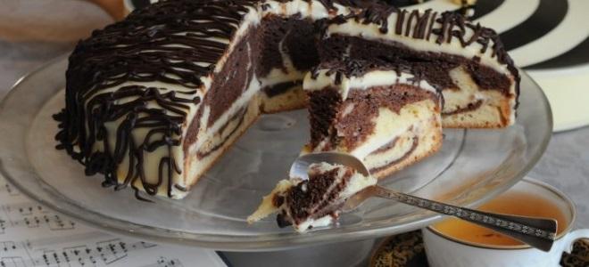 Пирог «Зебра» на кефире —  рецепт вкусного, красивого и пышного десерта