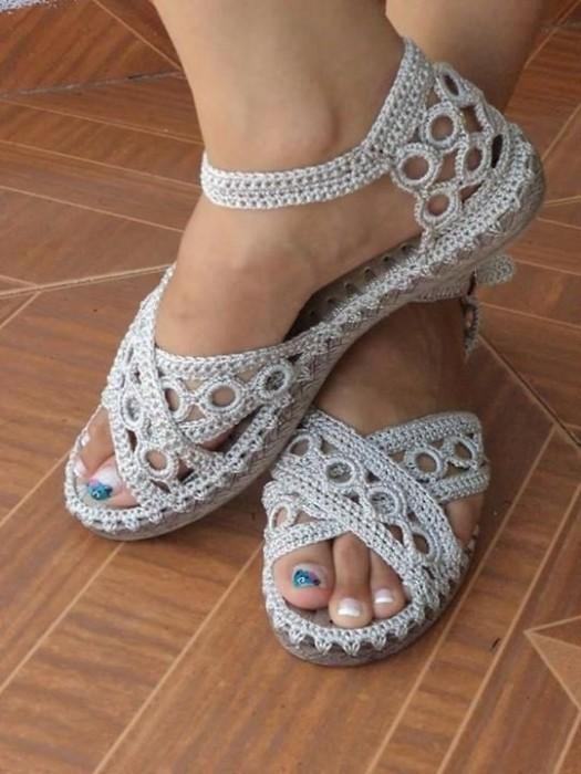 Вязаная летняя обувь крючком мастер класс