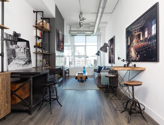 Гостиная в стиле лофт, совмещенная с кабинетом