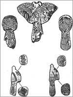 Фигурки птиц, найденные в Мезине, Украина, 10 000 дет до н.э.