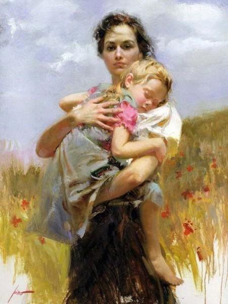 Мать и дитя в творчестве художника Пино Даени