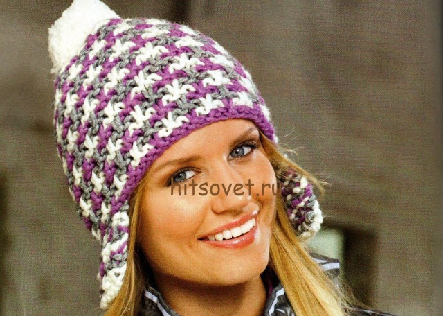Вяжем тёплые шапочки с ушкам…