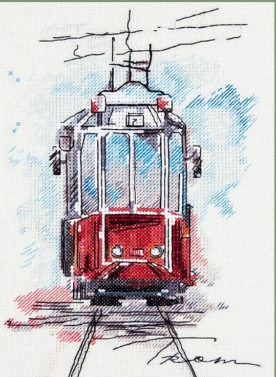 """Схемы к вышивке крестом """"Городской трамвай""""(Panna GM-1923)"""