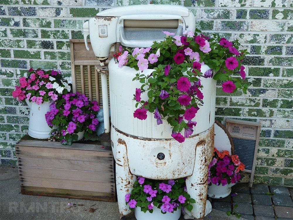 Клумба в старой стиральной машине