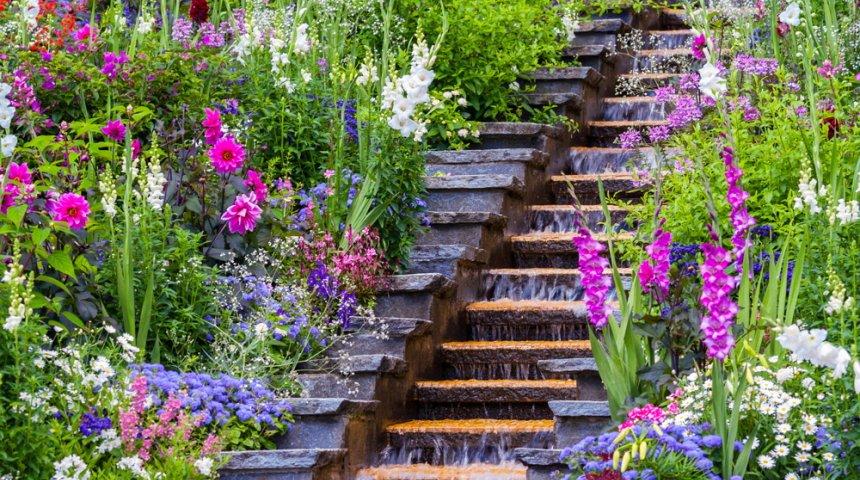 Flower water cascade at Mainau Island, Germany
