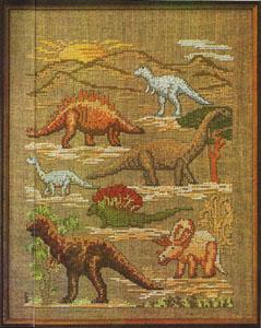 Вышивка крестом динозавра