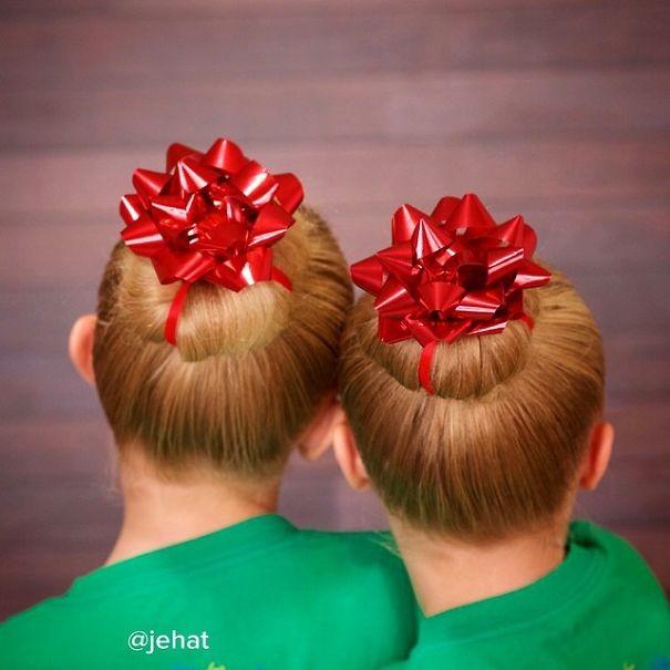 41. Подарки волосы, праздник, прическа, рождество