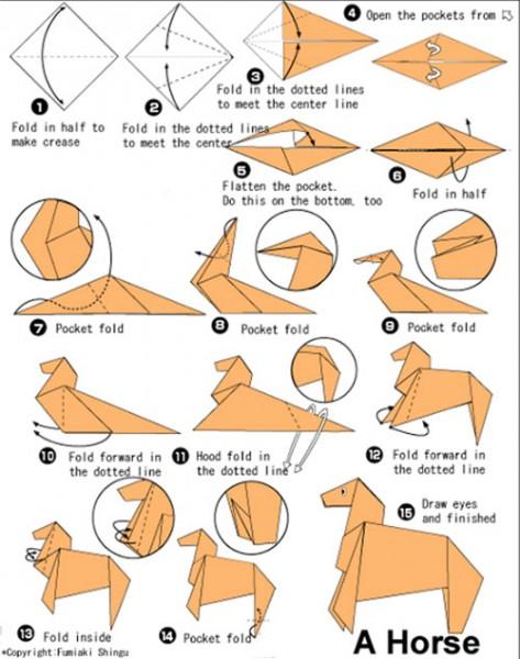 Из бумаги лошадь. Оригами