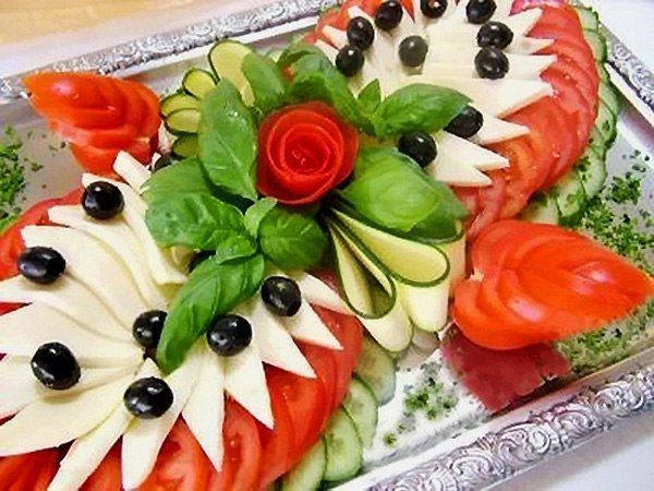Оформление овощных закусок