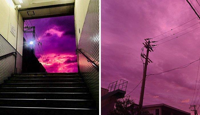 Зловещее небо Японии перед тайфуном Хаджибис