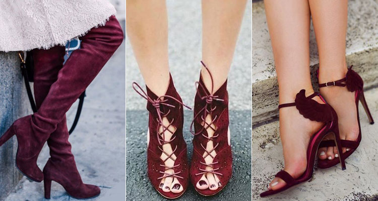 Туфли цвета марсала