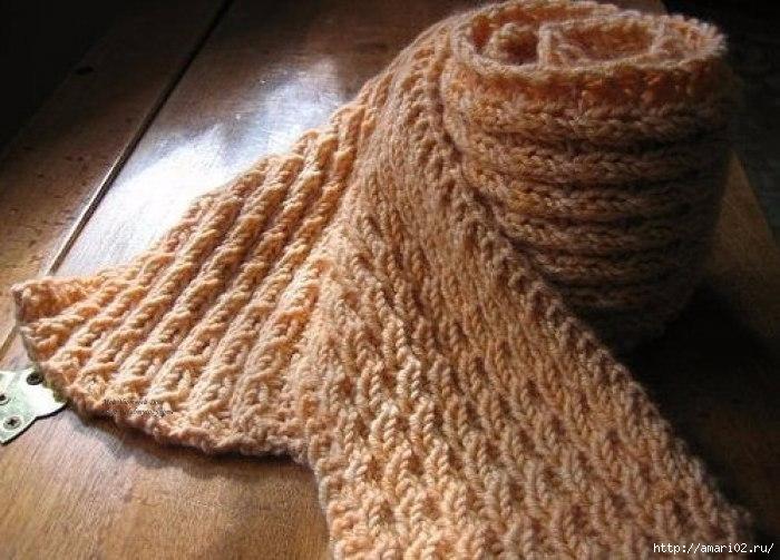 """Красивая и простая вязка узором """"колосок"""" для вязания шарфа"""