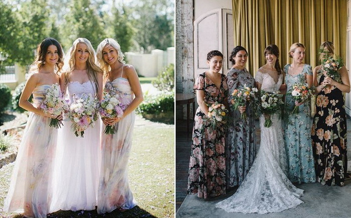 Платья с цветочными принтами для подруг невесты - модный тренд этого сезона.
