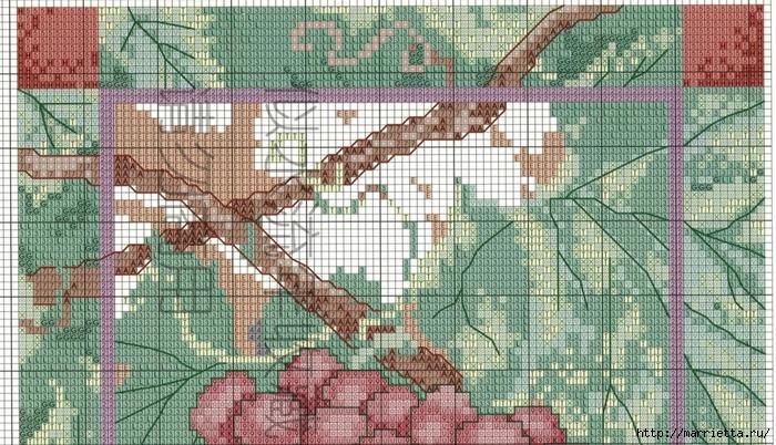 Виноградная лоза. Схемы вышивки крестом (2) (700x402, 344Kb)