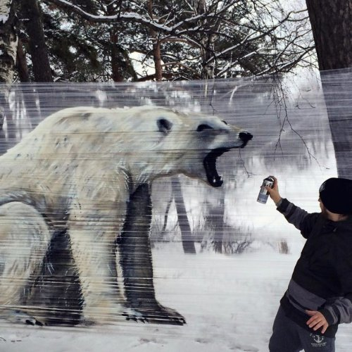 Граффити в лесу на упаковочной плёнке
