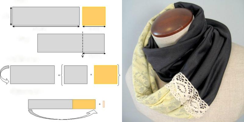 Вязание двухцветная плетенка 21