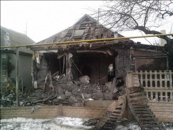 Донецк, разрушения 29 января