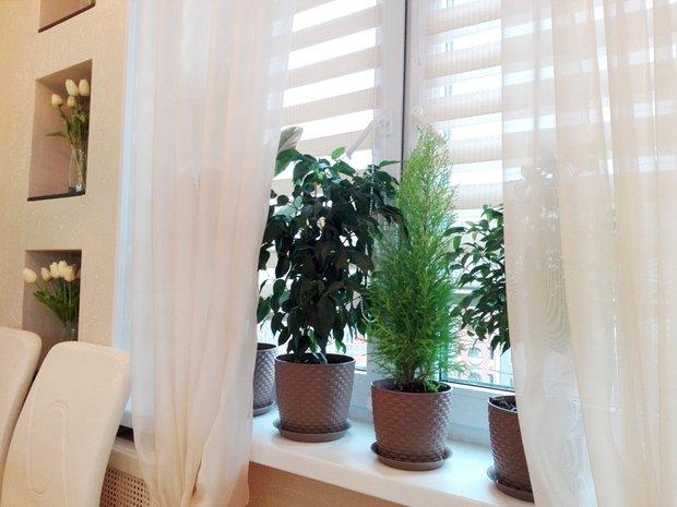 Кухня: зеркальный холодильник и потолочные балки