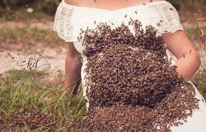 «Это было вдохновляющим опытом»: Беременная женщина устроила фотосессию с 20 000 пчел