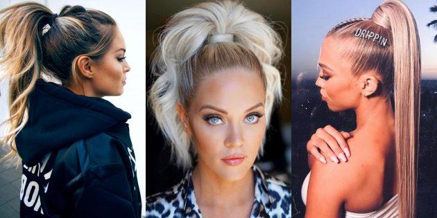 Модные женские причёски 2019: ультравысокий пони-тэйл