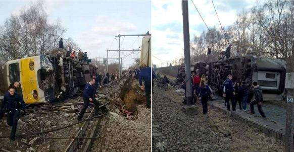 Пассажирский поезд сошел срельсов вБельгии, один человек погиб