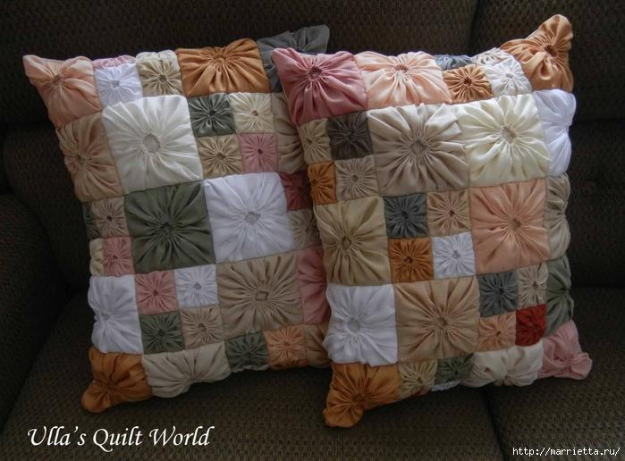 Замечательная наволочка для подушки из цветочков йо-йо