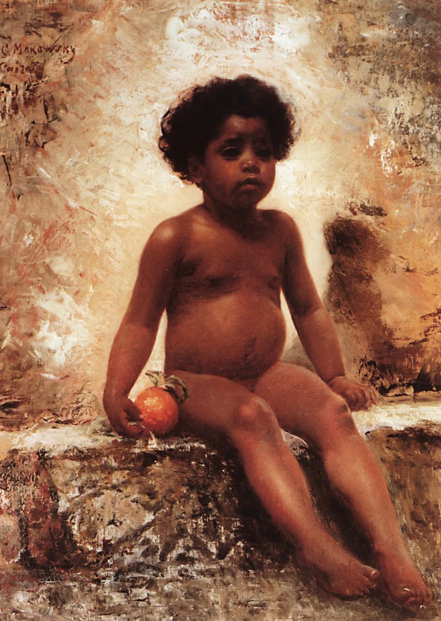 МаковÑкий К.. ÐрабÑкий мальчик Ñ Ð°Ð¿ÐµÐ»ÑŒÑином. 1870-е