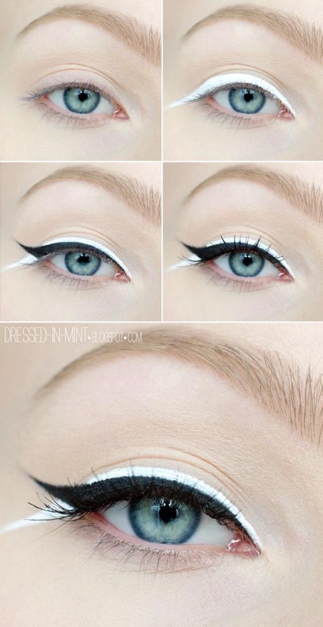 Макияж глаз с белым карандашом
