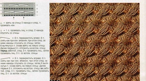 узор плетенка для вязания спицами со схемами