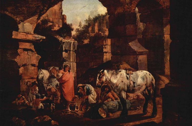 Иоганн Генрих. Цыганский табор в античных руинах Роос мифы, цыгане