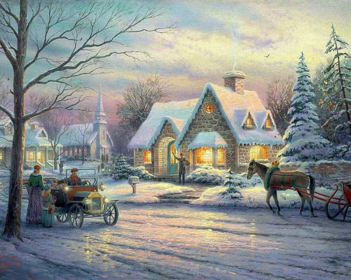Зимняя сказка. Автор: Thomas Kinkade.
