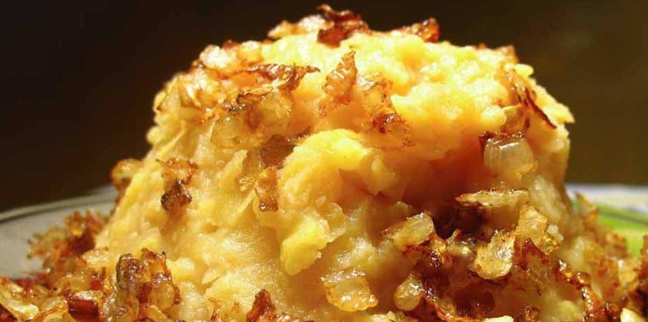 Вкуснейшее гороховое пюре с золотистым поджаренным луком