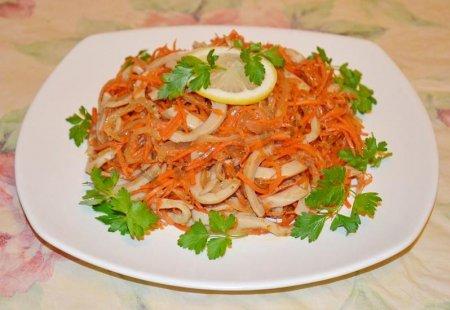 Корейская морковь с кальмарами рецепт с фото