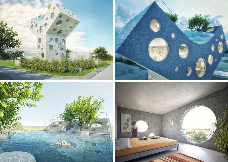 Дизайнеры придумали частный футуристический Y-дом c бассейном на крыше